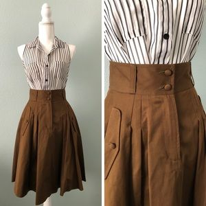 French Connection green a-line high waist skirt